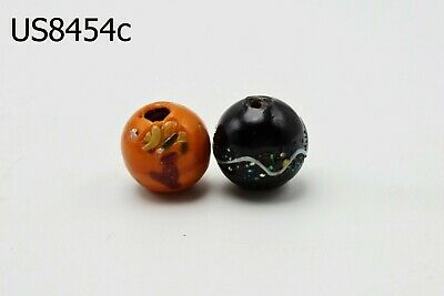 Lot 2 Rare Black & Orange Glass White Striped Islamic Mosaic Beads #8454