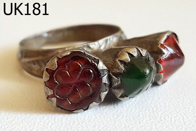 Wonderful Kuchi Nomadic Green Red Glass Silver mix Filigree Ring Size 5.5 #UK181