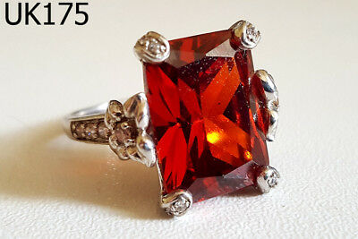 Vintage Victorian Art Deco Style Red Garnet Silver Filigree Ring Size 7 #UK175