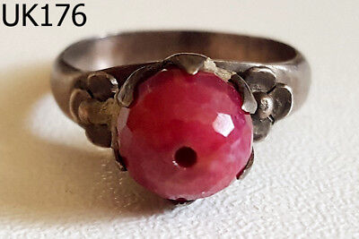 Old Roman Greek Ladies Engagement RUBY Real Silver Ring Size 6.5 #UK176