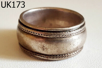 Rare Gorgeous Old Medieval  GOTHIC Biker Silver Rotating Ring Size 10 #UK173