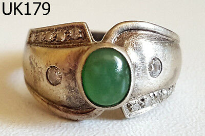 Vintage Art Deco Green JADE Gemstone Real Silver Ring Size 6 #UK179