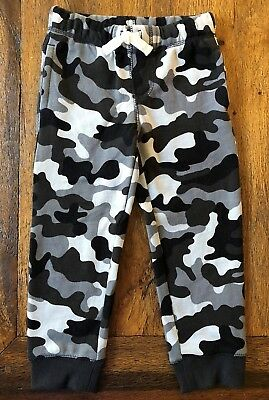 Gymboree 3T 5T Camo Sweatpants Black White Gray Fleece Joggers Boys New