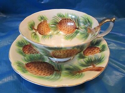 Tea Cup & Saucer Norcrest Fine China Made In Japan Hand Painted Pine Cone Needle