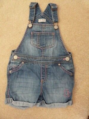 NEXT Little Girl's Blue Denim Dungaree Shorts Age 2-3 Years