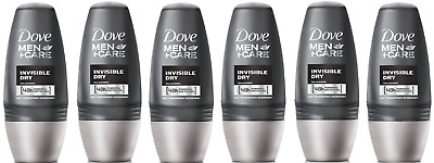 6x Dove Men+ Care INVISIBLE DRY Antiperspirant Roll on 50ml