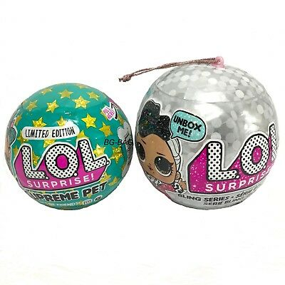 LOL Surprise SUPREME Pet & BLING Holiday Series Ornament Ball 2018 Authentic MGA