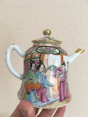 Antique Chinese Porcelain Teapot Famille Rose