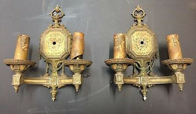 Lovely Pair Antique Art Deco White Metal Wall Sconces Marked Isco ca 1920's