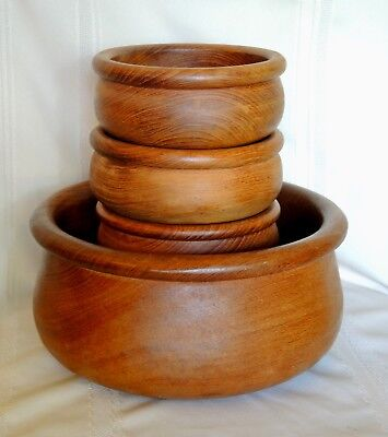 Vintage Wood Salad Bowl Set of 5