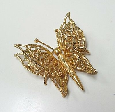 Monet Stamped Pin Brooch 3d Butterfly Wire Yellow Gold Tone Vintage Antique