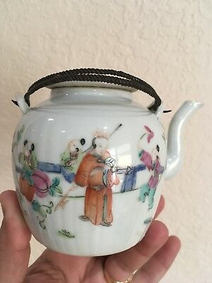 Antique Chinese Porcelain Teapot Famille Rose Signed