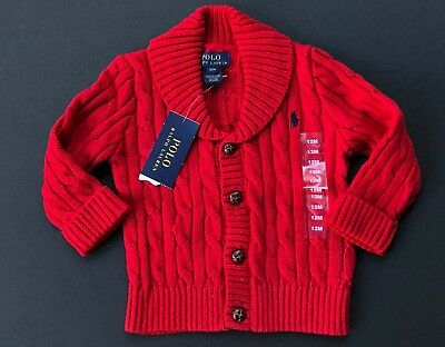 Ralph Lauren Polo Cable Knit Sweater Cardigan Shawl Collar Baby Size 12M 24M NEW