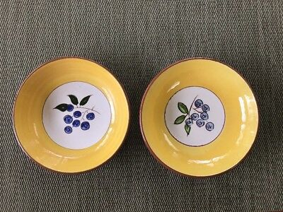 """EUC Set of 2 Stangl Pottery Hand-Crafted BLUEBERRY Dessert Fruit Bowls 5 5/8"""""""