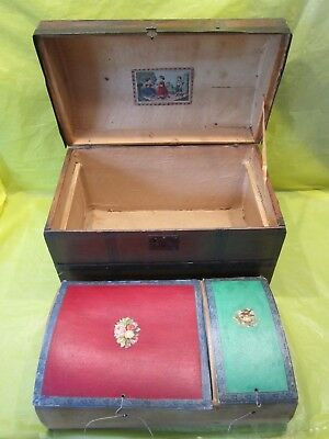 Vintage Doll Chest Wood Trunk Steamer Camel Back Dome Lid Bonnet Box Insert Tray