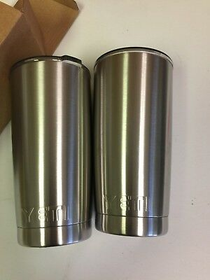 YETI Rambler 20 oz Stainless Steel Vacuum Insulated Tumbler with Lid, Lot of 2
