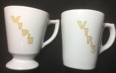 Vintage 1960's 70's Pair of 2 Buffalo China Coffee Mugs VIPS Restaurant Ware USA