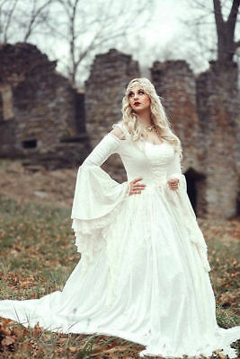 Renaissance Wedding Dress.Renaissance Celtic Medieval Lace Wedding Dresses Bridal Gowns Cloak Custom Made
