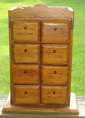 Antique Primitive Folk Art 8 Drawer Wood Spice Kitchen Office Apothecary Cabinet