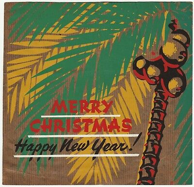 RARE WWII 93rd Seabees Construction Battalion Handmade Christmas Card South Paci