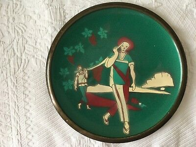 enamel over metal ( brass or copper ) plate in greens and burgandy.