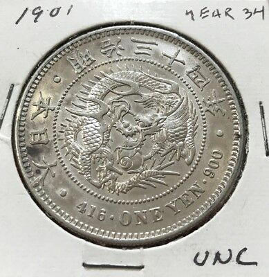 Japan 1901 One Yen .900 Silver (Y34) Crown Coin- NO RESERVE!!!