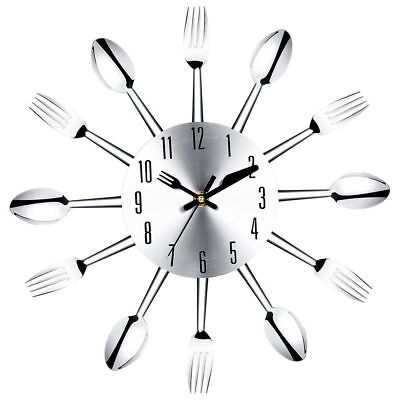 31CM Sliver Home Decoration Cutlery Kitchen Utensil Spoon Fork Clock Wall Clock