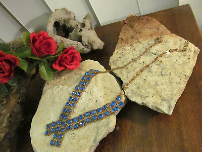 Vintage Antique Brass tone Dip Blue Rhinestone Crystal Choker Necklace