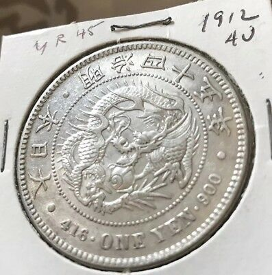 Japan Silver Coin 1912 (Year 45)One Yen .900 Silver! NO RESERVE!!!!