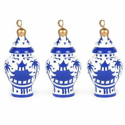 Darling Chinoiserie Pagoda Blue  Ginger Jar Ornaments/Place Card Holder 6 1/2 in