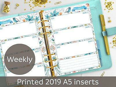 2019 dated A5 Weekly planner inserts - Week on 2 pages - Filofax A5