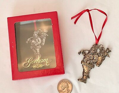 Christmas Ornament GORHAM 1984 E.P. Silverplate SANTA W/ TOY BAG 2.5""