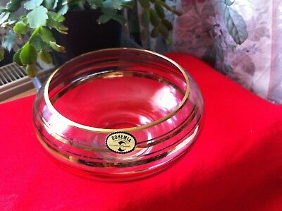 Vintage Bohemia Crystal Cut Glass Round Ball Shape Bowl Sweets Vase Gold Rim