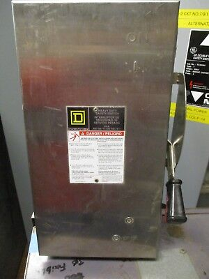 Square D H362Ds, Ser. F, 60 Amp 600V Fusible Stainless Steel Disconnect- New