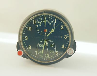 AChS-1 2 DAYS MILITARY AIRCRAFT MIG SU Soviet Vintage Cockpit CLOCK CHRONOGRAPH