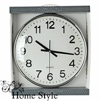 Large 38cm Black White Indoor Dome Face Classic Wall Clock Kitchen Living room