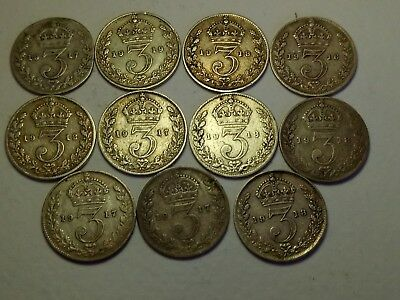 Lot Pre 1920 Threepence Silver Coins British,George V,Scrap,Collectible