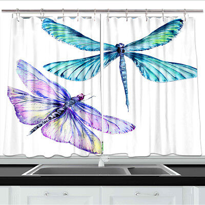 Dragonfly tattoo sketch Kitchen Curtains 2 Panel Set Decor Window Drapes 55x39in