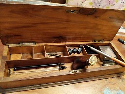 Antique Jewish Writing Box, Travelling Ink Well, seal  glass dip pens + fountain