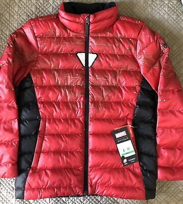 NWT Boys Marvel Prymo Synthetic Down Jacket Red Ironman 14 16  L $119 Spyder