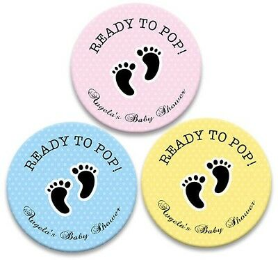Personalised Baby Shower Favours Stickers Gift Stick On Labels Pink Blue Yellow