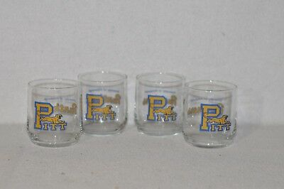 Set of 4 Vintage University Of Pittsburgh Panthers Drinking Glasses Football 718
