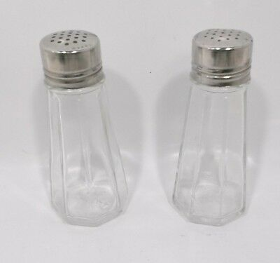 Vintage Diner GEMCO Clear Glass Salt & pepper Shakers Stainless Steel Lids