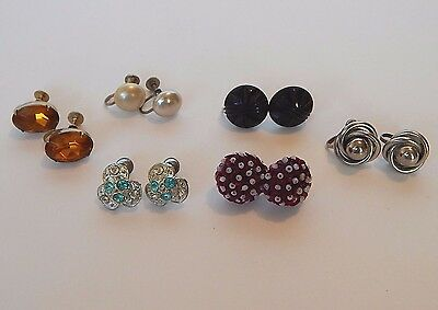 Lot of vintage antique screw back earrings, silver, gold,  rhinestones, buttons