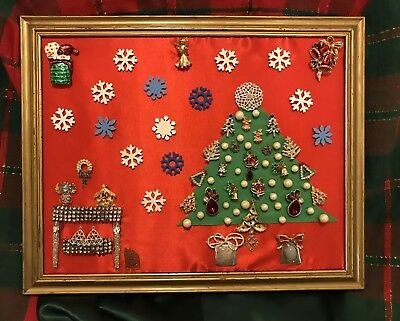DIY Framed Vtg Jewelry Art Picture  Rhinestones/Pearls/Pins/ButtonChristmas Nite
