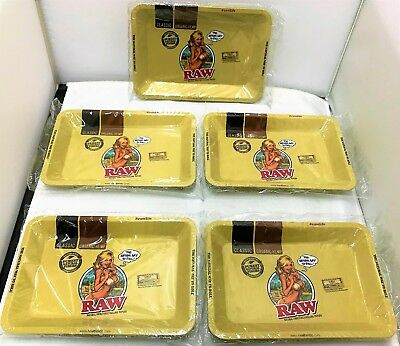 """Lot of 5 RAW """"MINI"""" GIRL TRAY Rolling Papers METAL Cigarette Rolling Tray 7""""x5"""""""