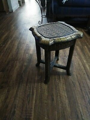 Vintage Wicker Rattan Weaved Plant Stand Wood Side Stool Bamboo Stand