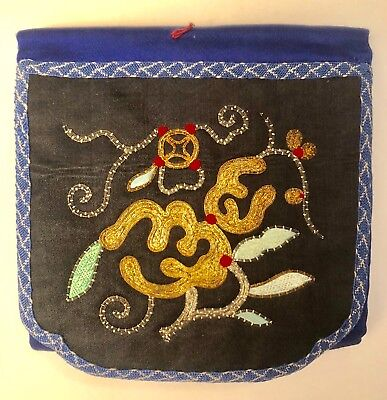 ANTIQUE CHINESE SILK EMBROIDERED POUCH  Gold & Silver Threads