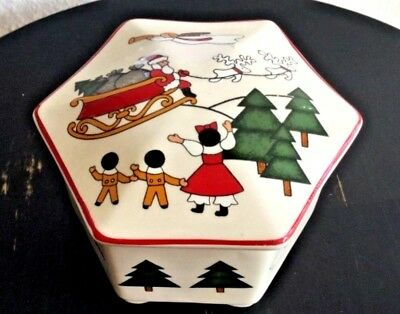 Mason's Ironstone Christmas Village Trinket Box Container w/lid Made in England