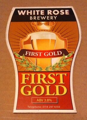 Beer pump clip badge front WHITE ROSE brewery FIRST GOLD cask ale Yorkshire